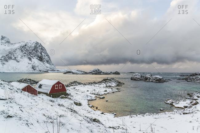 Fishermen's cabins in Straume Bay, Vesteralen, Norway