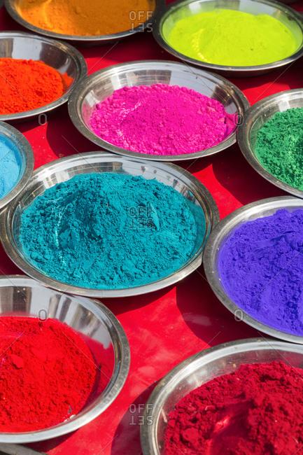 Holi powder colors, Orchha, Madhya Pradesh, India