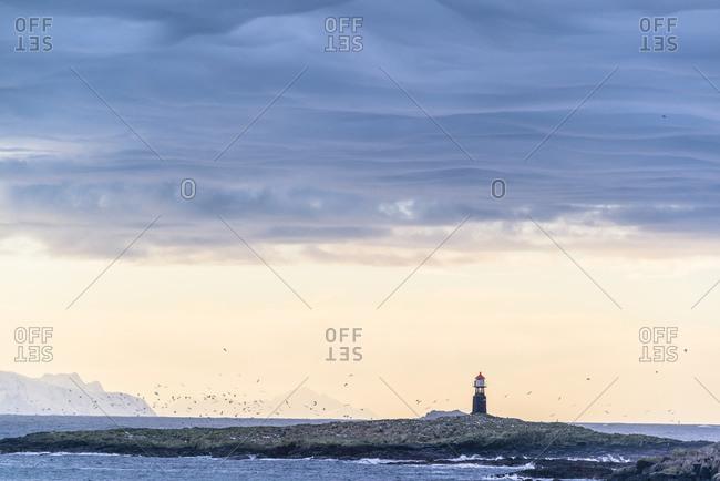 Lighthouse on Gunnarholmen near Skarvagen, Vesteralen, Norway