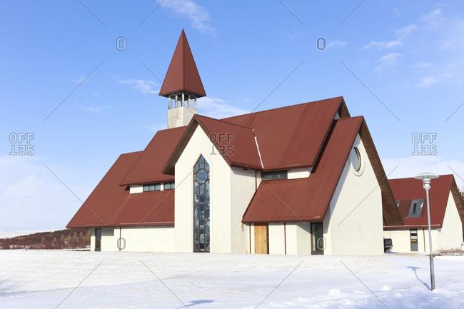 Modern church in Reykholt Reykholt, Vesturland, Iceland