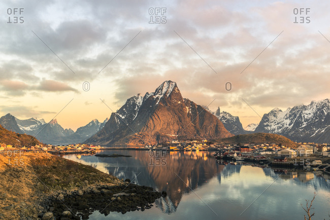 Olstinden mountain at sunrise, Reine, Lofoten, Norway
