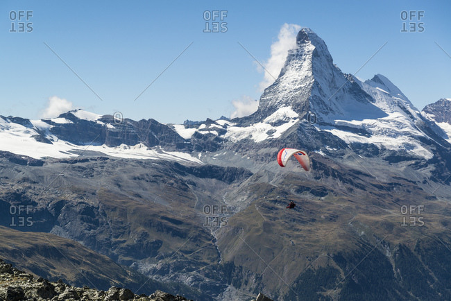 September 7, 2015: Paraglider, Matterhorn, Zermatt, Switzerland