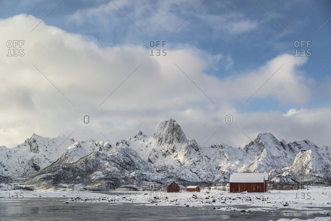 View into the Eidsfjord on Sortland, Vesteralen, Norway