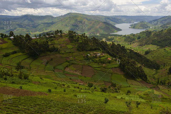 View of Lake Bunyonyi, southwest Uganda, Africa