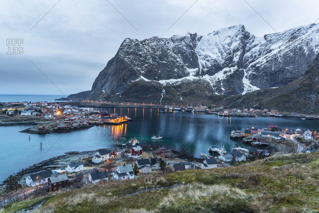 View of Reine at dusk, Lofoten, Norway