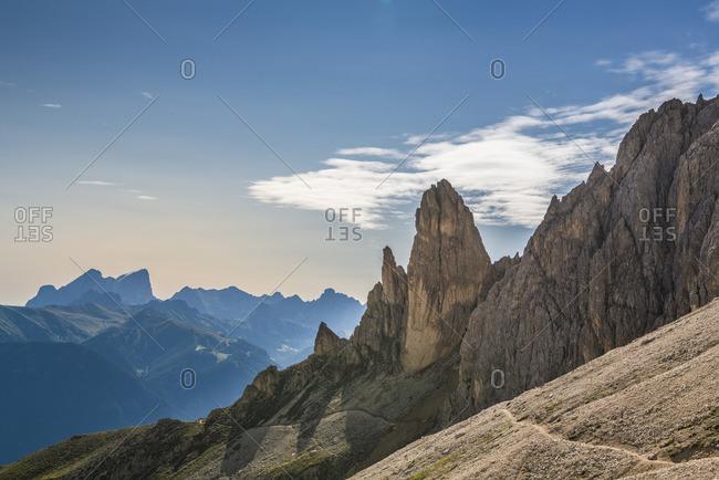 Zigolade Pass, Rosengarten, Dolomites, South Tyrol, Italy