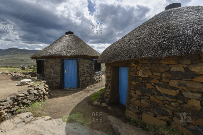 A traditional house in a village, Lesotho, Africa