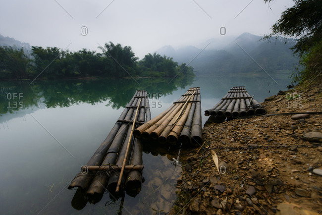 Bamboo rafts in a river, Guangxi province, China