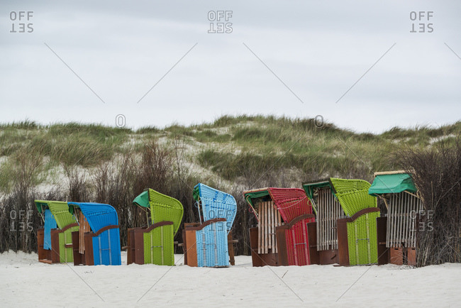 Beach chairs on the beach, Helgoland, Schleswig-Holstein, Germany