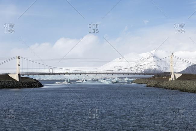 Bridge over the lake Jokulsarlon glacial lake, Iceland