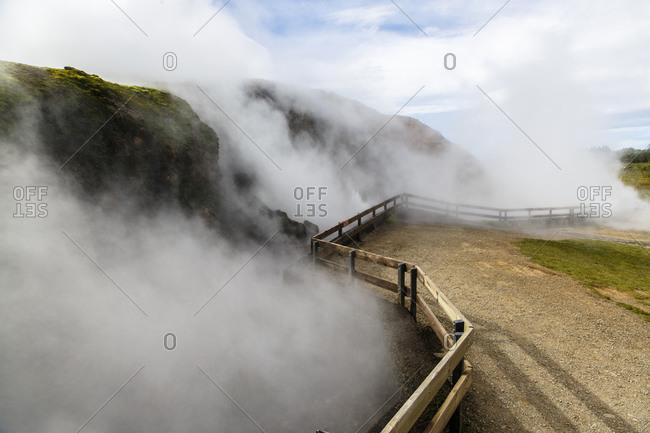 Deildartunguhver, hot springs in the Reykholtsdalur valley, Iceland