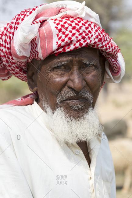 February 7, 2016: Shepherd portrait, Nawalgarh, Rajasthan, India