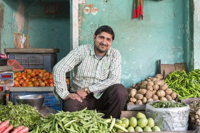 February 7, 2016: Vegetable market, Nawalgarh, Rajasthan, India