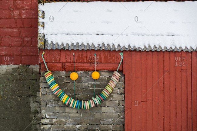 Fisherman's hut decorated with buoys in Vesteralen, Norway