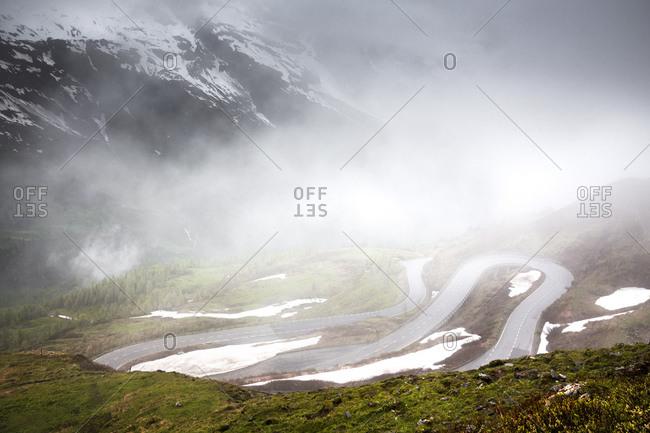 Grossglockner high alpine road in the fog, Austria