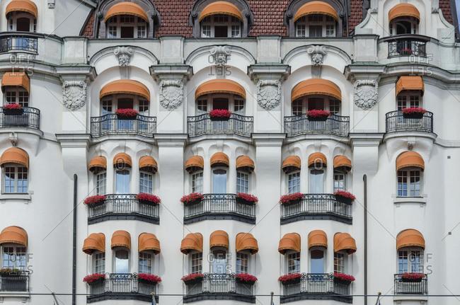 Historic facades, Strandvagen, old town, Stockholm, Sweden, Europe