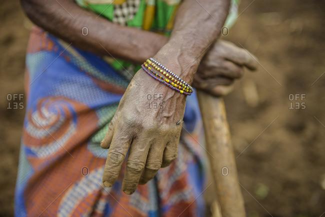 October 17, 2014: Farmer's wife, hands, Uganda, Africa
