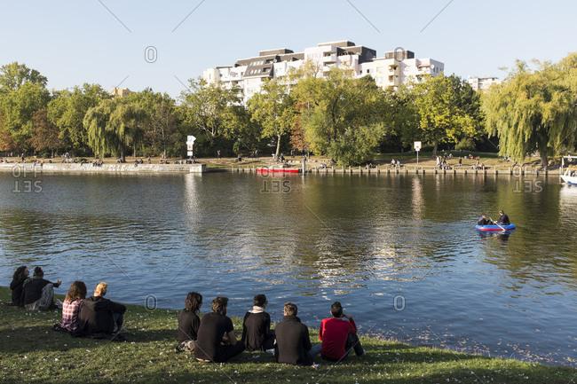 October 3, 2015: Landwehr Canal, Kreuzberg, Berlin, Germany