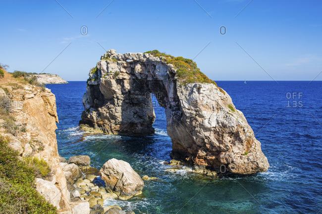 Rock gate Es Pontas, municipality Santanyi, Mallorca, Spain
