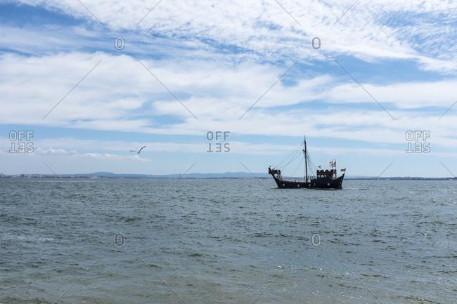 Ship on the Tagus off Lisbon, Portugal, Europe