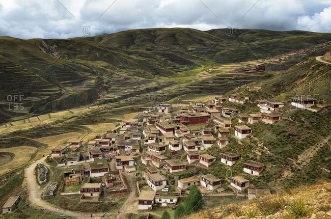 Tibetan monastic community in remote Kham province. Tibet