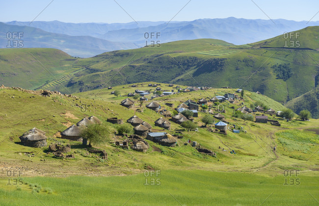 View of landscape and traditional villages, Lesotho, Africa