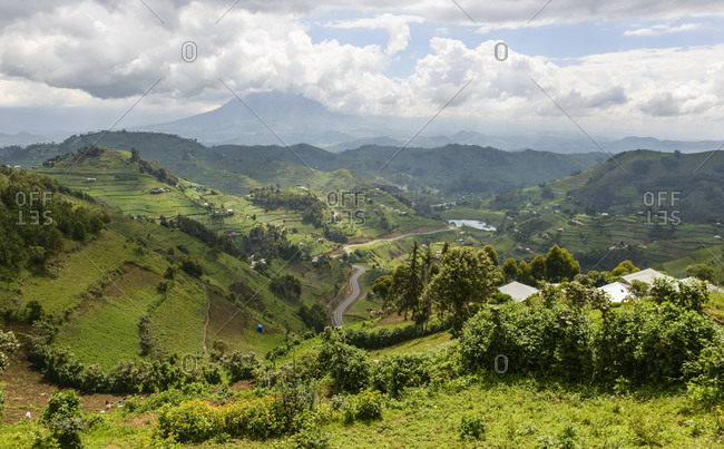 View of the Virunga volcanoes, southwest Uganda, Africa