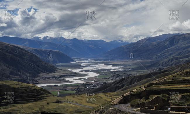 Yangtze river up river at the Tibetan plateau