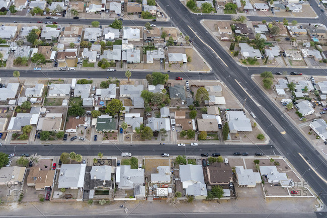Aerial, aerial photography from helicopter, Las Vegas, Nevada, USA