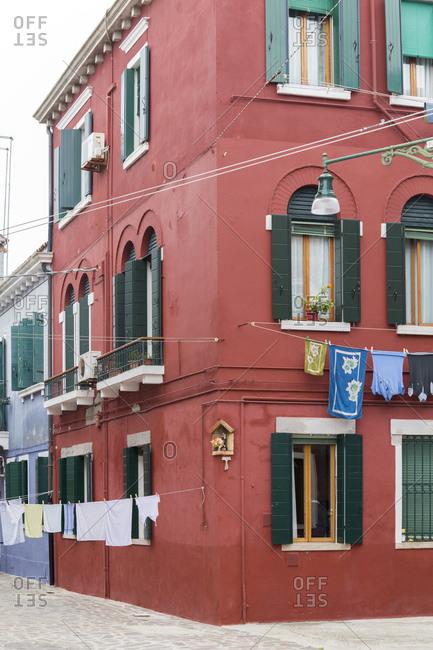 Colourful house facades on Burano, Lagoon of Venice, Italy