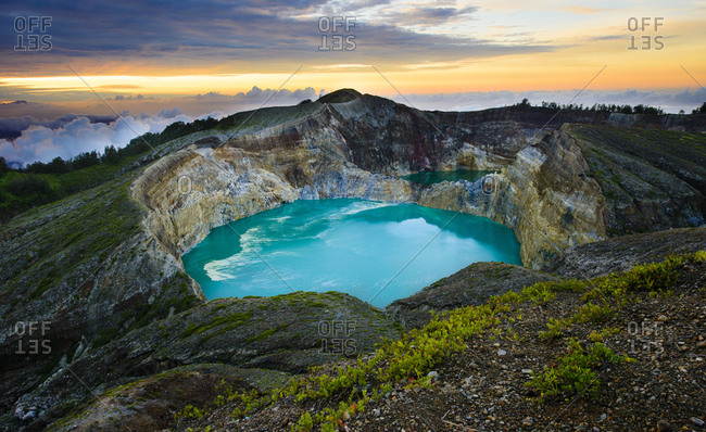 Crater of the Kelimutu volcano at sunrise, Flores, Indonesia