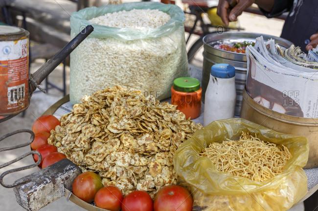 February 22, 2016: Street snacks, Sarnath, Varanasi, Uttar Pradesh, India