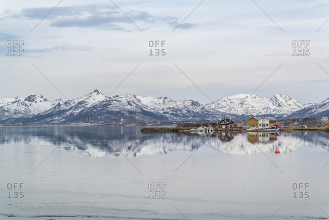 Fishing huts on the Eidsfjord near Froskeland, Vesteralen, Norway