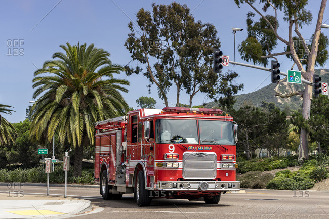 July 4, 2017: Fire truck, San Diego, California, USA