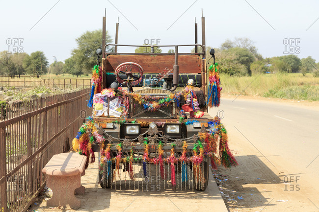 March 5, 2016: Colorful decorated vehicle, Abhaneri, Rajasthan, India