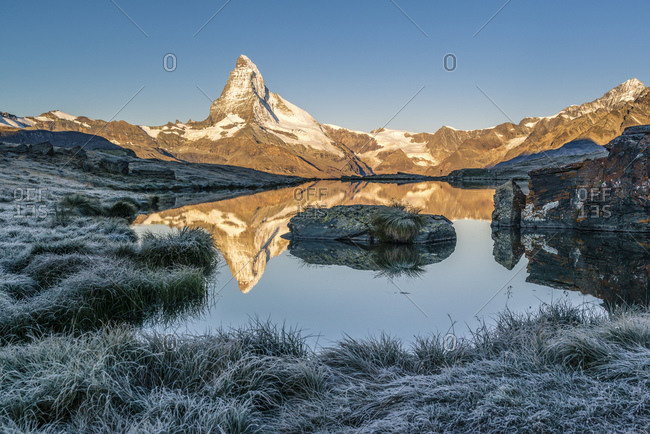Reflection of the Matterhorn in Stellisee with hoarfrost, Switzerland