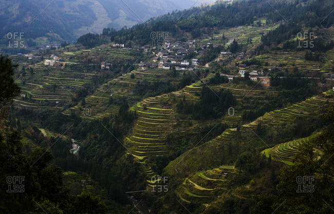 Rice terraces and traditional mountain village, Guizhou Province, China