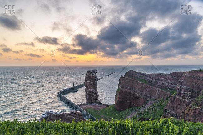 "Rock formation ""Lange Anna"" at sunset, Helgoland, Schleswig-Holstein, Germany"