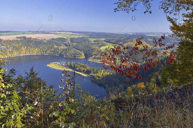 Saalebogen from the Hohenwarte reservoir near Altenbeuthen, Thuringia, Germany