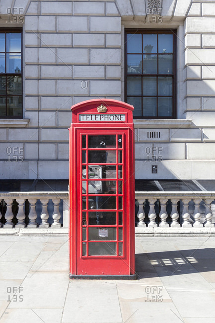 September 10, 2015: Telephone booth, Whitehall, London, Great Britain