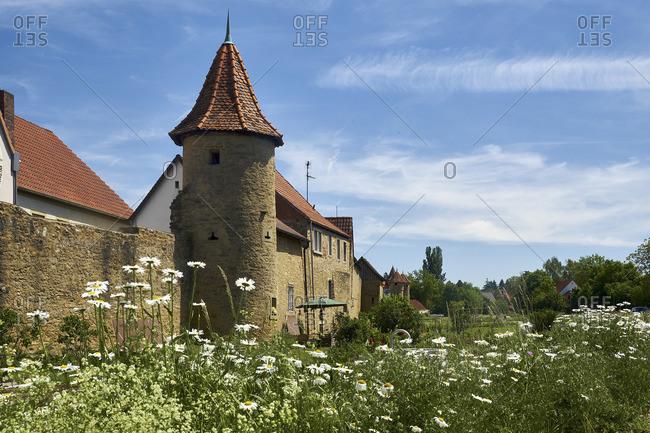 Southern city wall of Mainbernheim, Lower Franconia, Bavaria, Germany