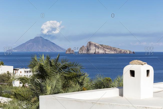 Stromboli island seen from Panarea, Aeolian Islands, Sicily, Italy