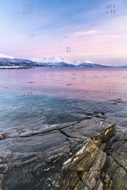 Sunset on the coast at Tisnes on Kvaloya, Norway