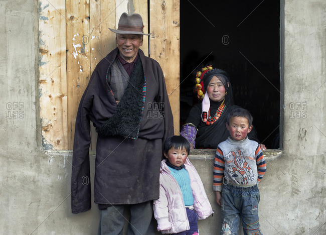 April 3, 2011: Tibetan family in their home, Tibetan plateau