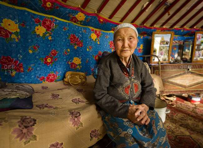 August 20, 2013: Old Mongolian nomad in her yurt, Mongolia
