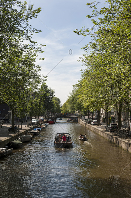 August 9, 2015: Canal in the old town, Amsterdam, Netherlands