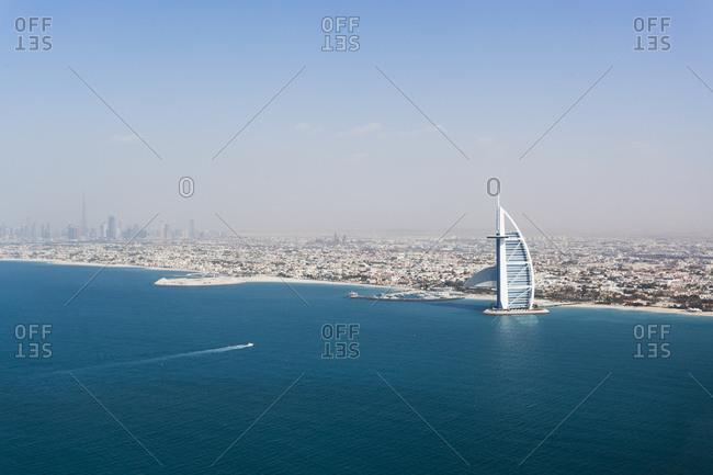 February 14, 2012: Coast with Burj Al Arab, Dubai, UAE