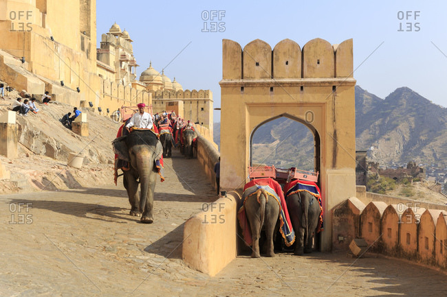 February 14, 2016: Amber Fortress, Amber Fort, Jaipur, Rajasthan, India