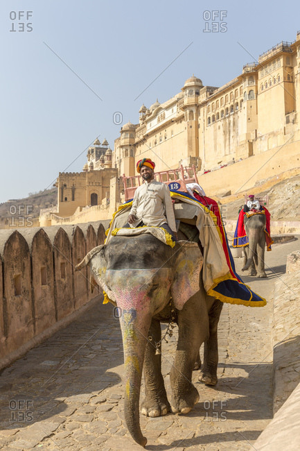 February 14, 2016: Amber Fortress, Amber Fort, Jaipur, Rajasthan, India