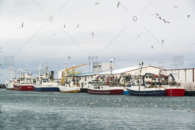 February 17, 2015: Andenes harbor with fishing boats, Vesteralen, Norway
